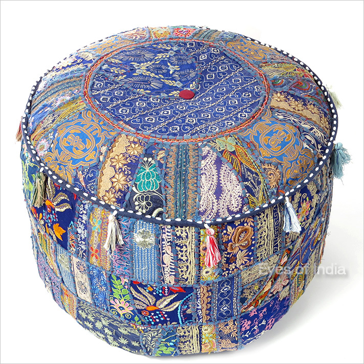 Small Blue Round Patchwork Pouffe Ottoman Cover Floor Seating Bohemian Accent Bo