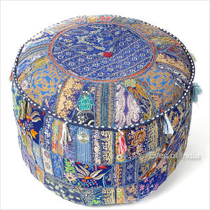 Blue Small Round Patchwork Floor Seating Bohemian Accent Boho Chic Handmade Pouffe Ottoman Cover