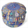 Small Blue Round Patchwork Pouffe Ottoman Cover Floor Seating Bohemian Accent Bo 1