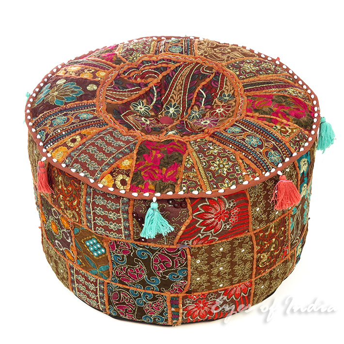 Brown Small Patchwork Round Ottoman Floor Seating Bohemian Accent Boho Chic Handmade Pouf Pouffe Cover