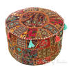 Brown Small Patchwork Round Ottoman Floor Seating Bohemian Accent Boho Chic Handmade Pouf Pouffe Cover 1