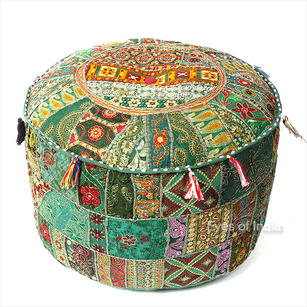 Green Small Patchwork Round Floor Seating Boho Chic Accent Handmade Ottoman Pouf Pouffe Cover