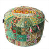 Green Small Patchwork Round Floor Seating Boho Chic Accent Handmade Ottoman Pouf Pouffe Cover 1