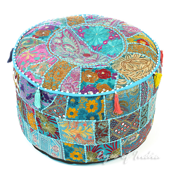 Blue Patchwork Round Pouf Floor Seating Bohemian Accent Boho Handmade Pouffe Ottoman Cover