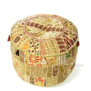 Brown Small Patchwork Round Floor Seating Bohemian Accent Boho Chic Handmade Pouf Pouffe Ottoman Cover