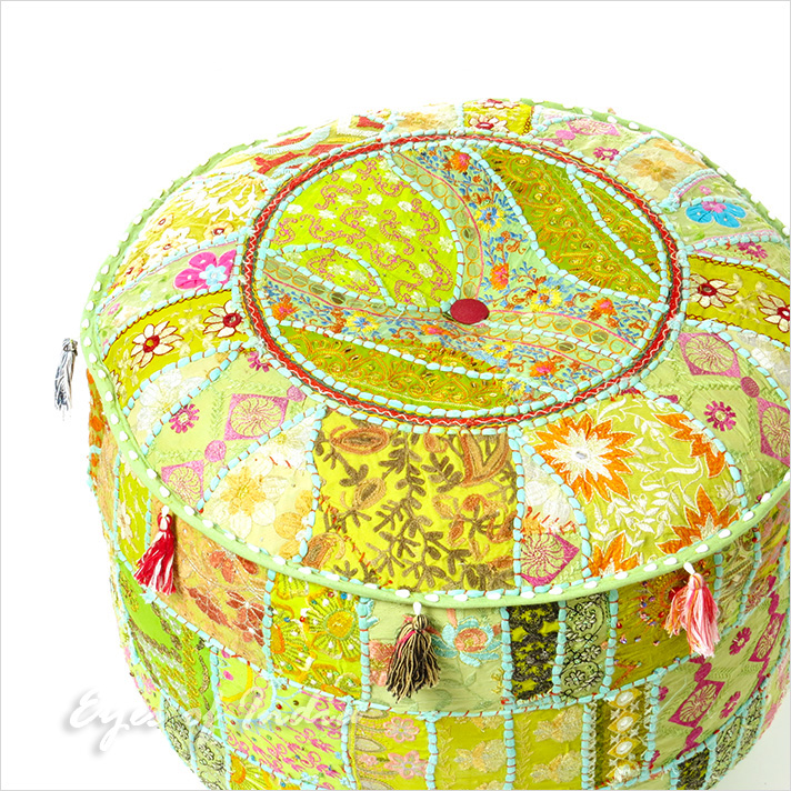 Green Small Patchwork Round Ottoman Pouf Floor Seating Boho Chic Bohemian Accent Handmade Pouffe Cover