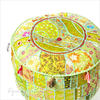 Green Small Patchwork Round Ottoman Pouf Floor Seating Boho Chic Bohemian Accent Handmade Pouffe Cover 1