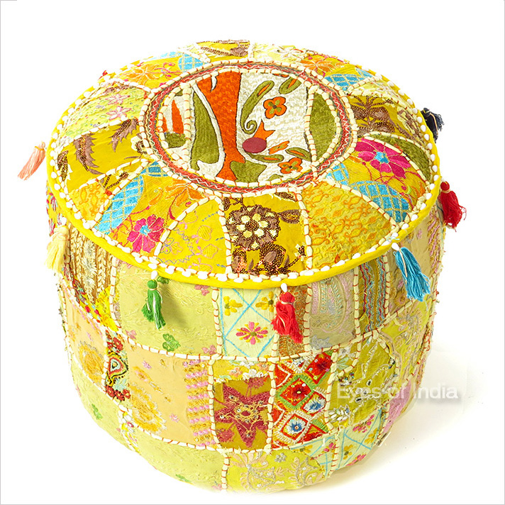 Yellow Small Round Ottoman Floor Seating Bohemian Accent Boho Chic Handmade Patchwork Pouffe Cover