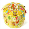 Small Yellow Round Ottoman Patchwork Pouffe Cover Floor Seating Bohemian Accent 1