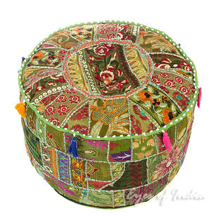 Olive Patchwork Round Pouf Floor Seating Boho Chic Bohemian Accent Handmade Pouffe Ottoman Cover