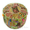 Olive Patchwork Round Pouf Floor Seating Boho Chic Bohemian Accent Handmade Pouffe Ottoman Cover 1