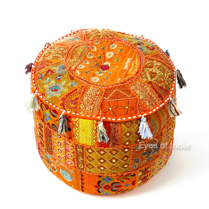 Orange Patchwork Round Pouf Pouffe Floor Seating Bohemian Boho Chic Handmade Ottoman Cover