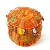 Orange Patchwork Round Pouf Pouffe Floor Seating Bohemian Boho Chic Handmade Ottoman Cover 1