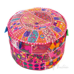 Pink Patchwork Round Pouf Seating Bohemian Accent Boho Chic Handmade Pouffe Ottoman Cover