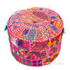 Pink Patchwork Round Pouf Pouffe Ottoman Cover Floor Seating Bohemian Accent Boh 1