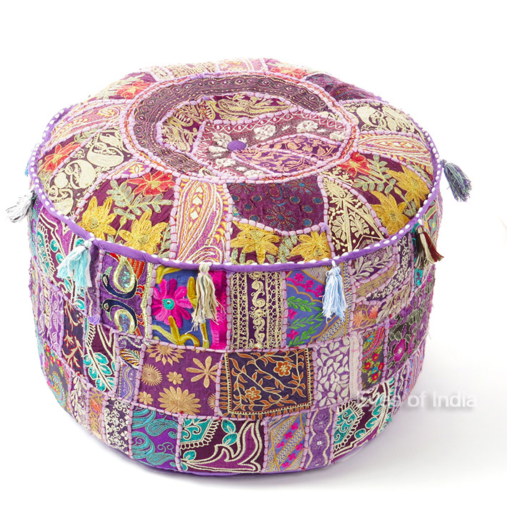 Purple Patchwork Round Floor Seating Bohemian Accent Boho Chic Handmade Pouf Pouffe Ottoman Cover