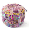 Purple Patchwork Round Floor Seating Bohemian Accent Boho Chic Handmade Pouf Pouffe Ottoman Cover 1