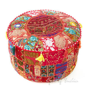 Red Small Patchwork Round Floor Seating Boho Chic Bohemian Accent Handmade Pouffe Ottoman Cover