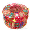 Red Small Patchwork Round Floor Seating Boho Chic Bohemian Accent Handmade Pouffe Ottoman Cover 1