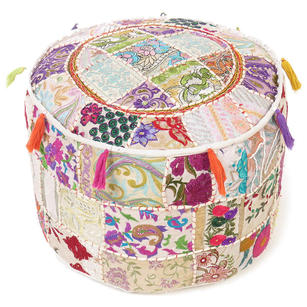 White Small Patchwork Round Pouf Floor Seating Boho Chic Bohemian Accent Handmade Pouffe Ottoman Cover