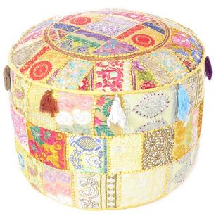 Yellow Small Round Pouf Patchwork Floor Seating Bohemian Accent Decorative Handmade Pouffe Ottoman Cover