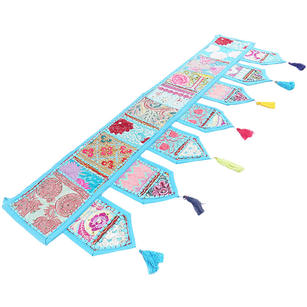 Blue Window Door Valance Bohemian Accent Embroidered Handmade Patchwork Wall Hanging