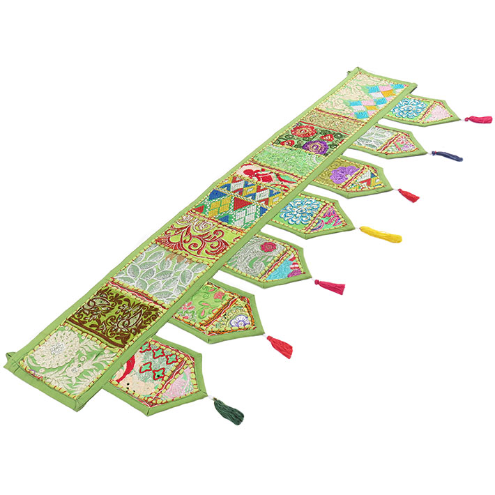 Green Door Window Valance Embroidered Handmade Patchwork Boho Chic Wall Hanging Tapestry