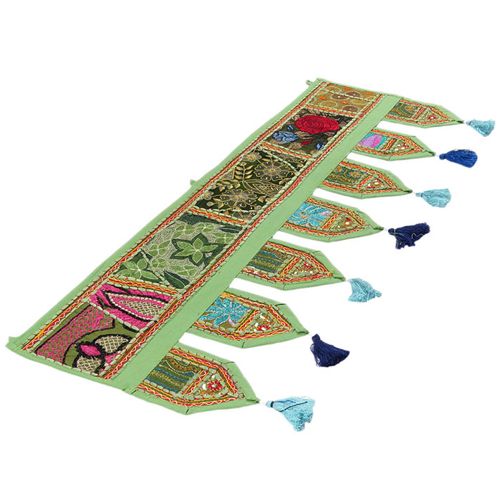 Green Window Door Valance Embroidered Boho Chic Handmade Patchwork Wall Hanging Tapestry
