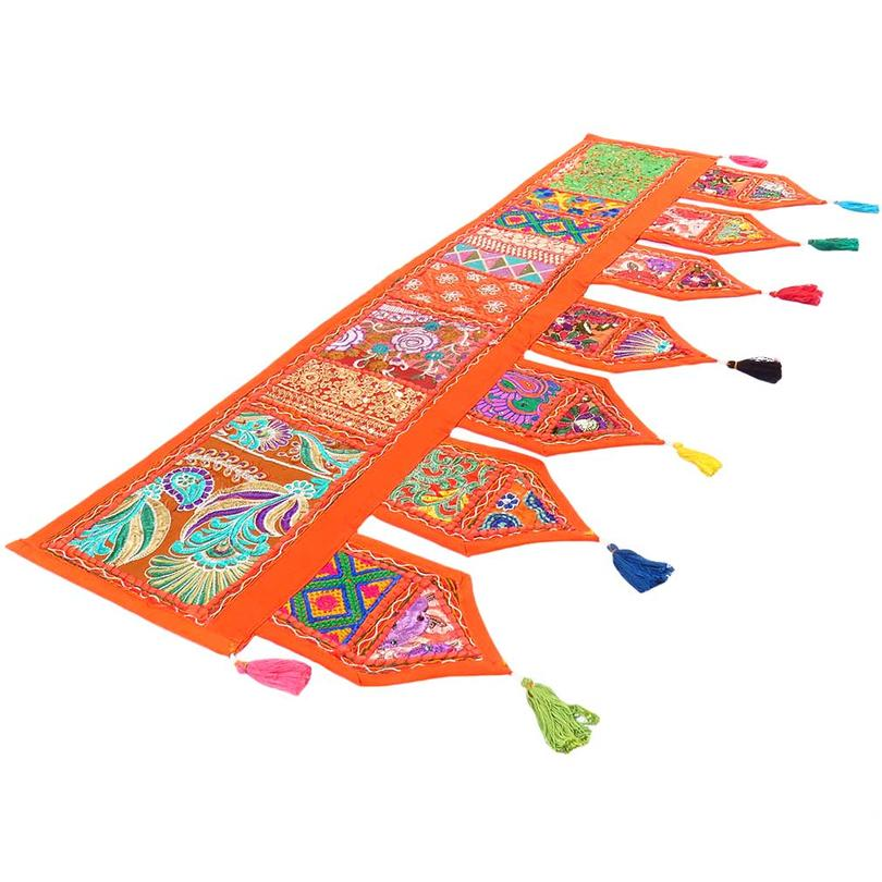 Orange Window Door Valance Embroidered Handmade Patchwork Bohemian Accent Wall Hanging Tapestry