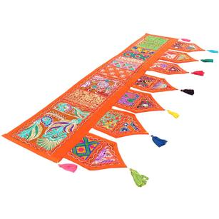 Orange Window Door Valance Toran Patchwork Wall Hanging Indian Bohemian Accent