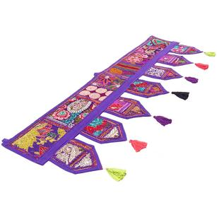 Purple Window Door Embroidered Valance Tapestry Bohemian Boho Handmade Patchwork Wall Hanging