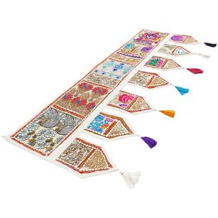White Window Door Valance Embroidered Handmade Patchwork Wall Hanging Bohemian Tapestry