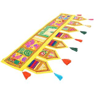 Yellow Embroidered Door Window Valance Toran Handmade Patchwork Boho Wall Hanging
