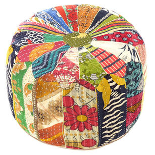Colorful Vintage Kantha Round Pouf Pouffe Ottoman Cover Floor Seating Boho Chic Bohemian Accent Indian Handmade