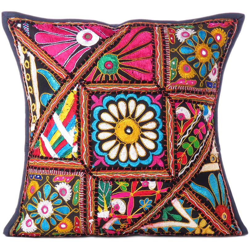 Black Patchwork Colorful Decorative Couch Cushion Throw Boho Bohemian Sofa Pillow Cover