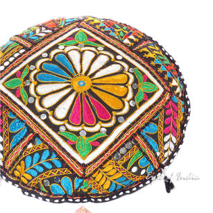 Black Round Colorful Decorative Patchwork Meditation Throw Bohemian Boho Floor Pillow Cushion Cover