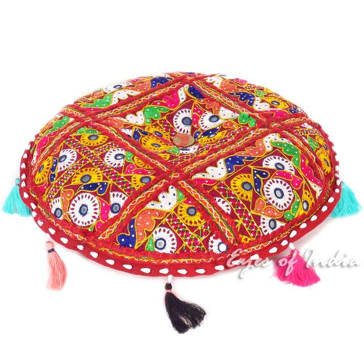 Burgundy Floor Meditation Pillow Cushion Patchwork Round Colorful Decorative Bohemian Boho Throw Cover