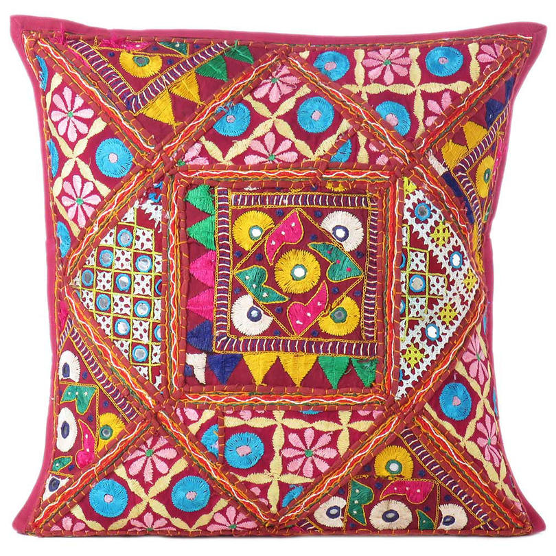Red Burgundy Colorful Patchwork Couch Boho Bohemian Sofa Throw Pillow Cushion Cover
