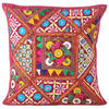 Red Burgundy Colorful Patchwork Couch Boho Bohemian Sofa Throw Pillow Cushion Cover 1