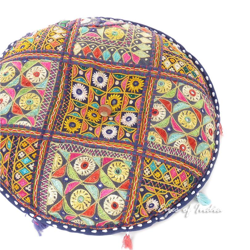 Blue Round Floor Meditation Pillow Cushion Throw Bohemian Boho Colorful Cover