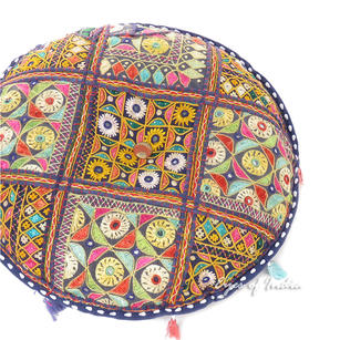Blue Round Floor Meditation Pillow Cushion Throw Bohemian Boho Colorful Cover