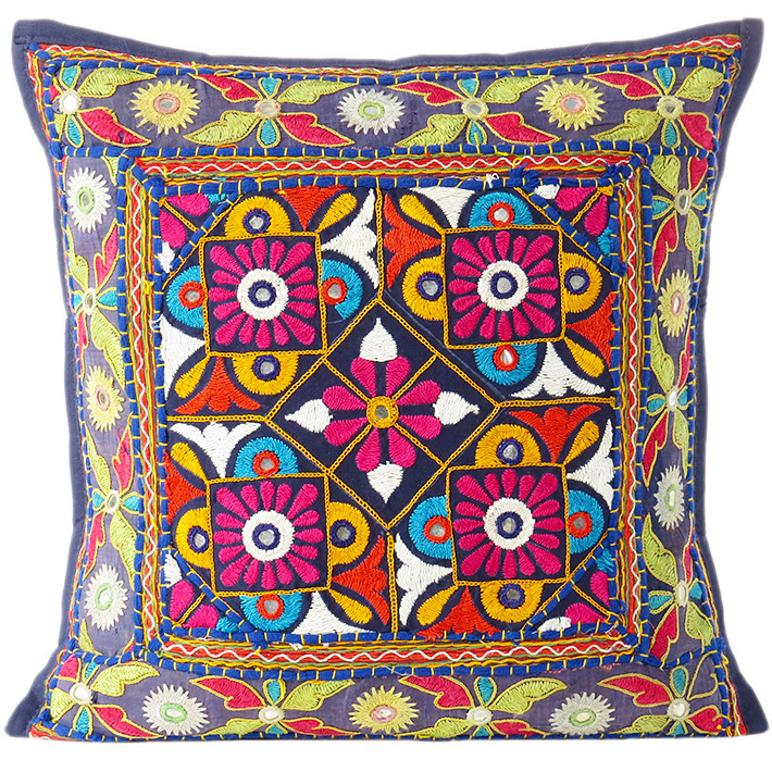 Blue Patchwork Cushion Couch Sofa Colorful Decorative Bohemian Boho Pillow Throw Cover