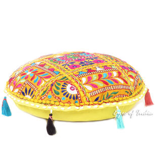 Colorful Round Decorative Patchwork Floor Pillow Cover Meditation Cushion Seatin