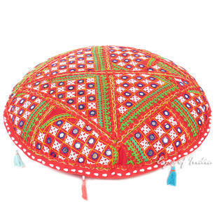 Red Round Patchwork Colorful Floor Pillow Meditation Throw Bohemian Boho Cushion Cover