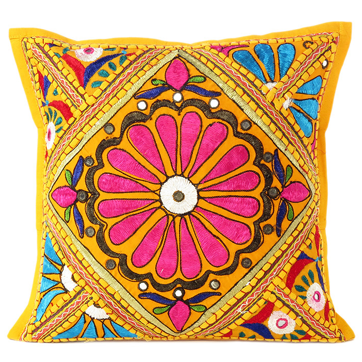 Yellow Decorative Patchwork Cushion Bohemian Boho Sofa Throw Couch Pillow Cover