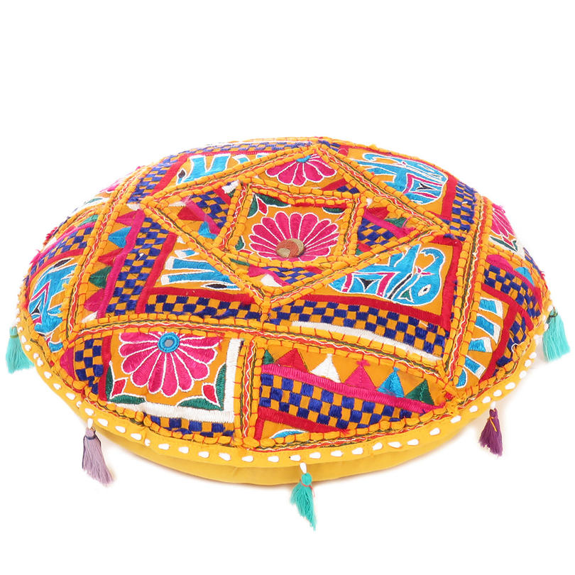 Yellow Colorful Round Meditation Cushion Throw Boho Bohemian Floor Pillow Cover