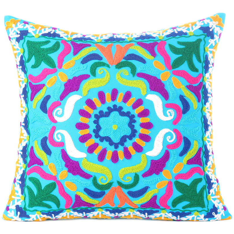 """Light Blue Embroidered Colorful Decorative Throw Couch Sofa Pillow Cover -16"""""""