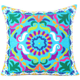 Light Blue Embroidered Colorful Decorative Throw Couch Sofa Pillow Cover -16""