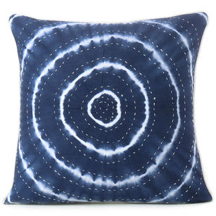 Indigo Blue Kantha Colorful Decorative Cushion Throw Sofa Bohemian Boho Shibori Couch Pillow Cover