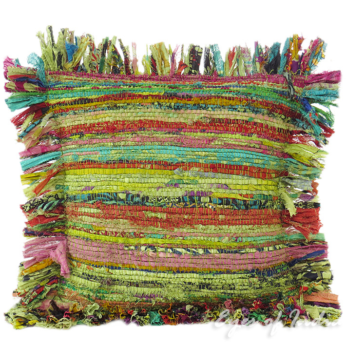Green Chindi Sofa Colorful Decorative Bohemian Boho Throw Couch Pillow Cushion Cover